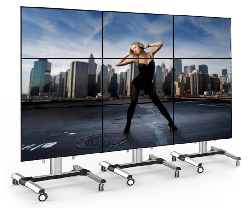 "Three quarter view of 49""  3 x 3 Free Standing Video Wall Panel"