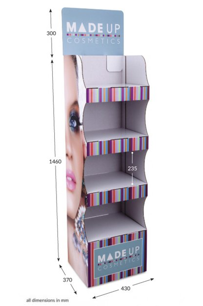4 Shelf Compact Pop-up FSDU Fully Printed