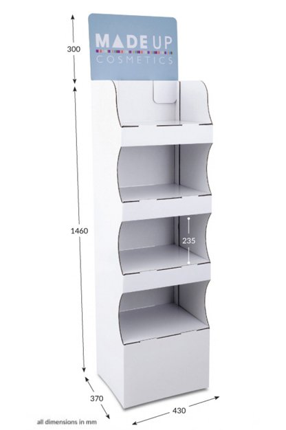 4 Shelf Compact Pop-up FSDU with Printed Header
