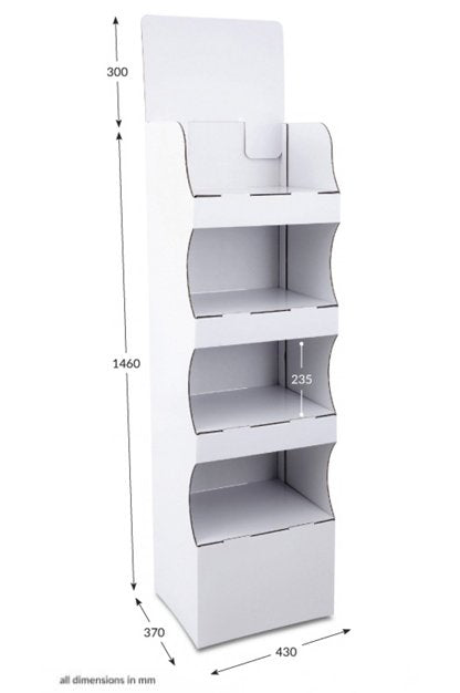 4 Shelf Compact Pop-up FSDU Unprinted