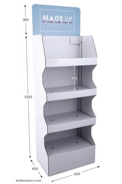 4 Shelf Wide Pop-up FSDU with Printed Header