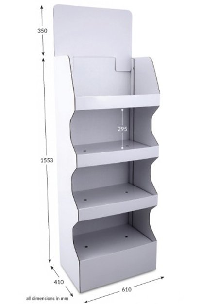 4 Shelf Wide Pop-up FSDU Unprinted