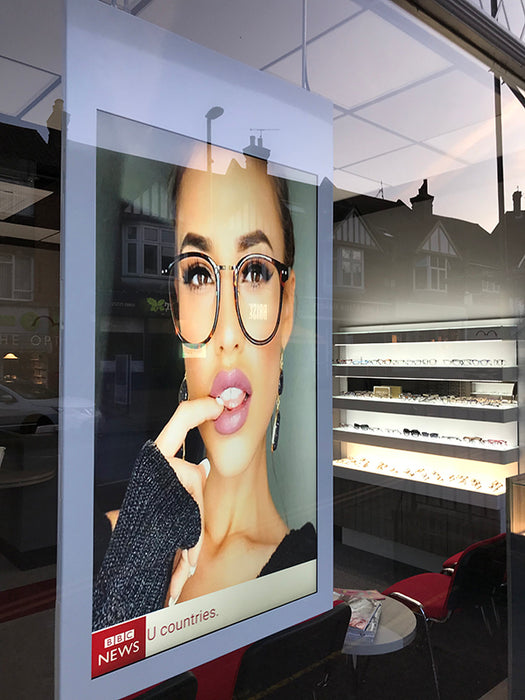 Double sided hanging digital window display