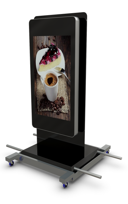 "Mobile outdoor 47"" Digital Advertising Display with Trolley and lifting handles"