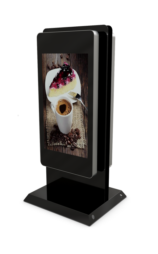"Double Sided Mobile outdoor 47"" Digital Advertising Display front three quarter view"