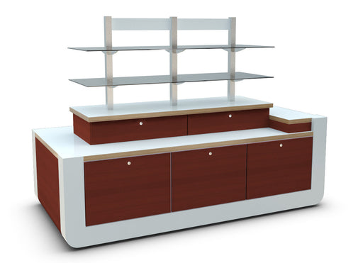 Three quarter front view of low-level Retail Merchandise Unit