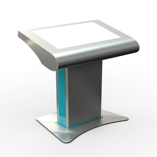 "Three quarter view of 42"" free standing touch screen"