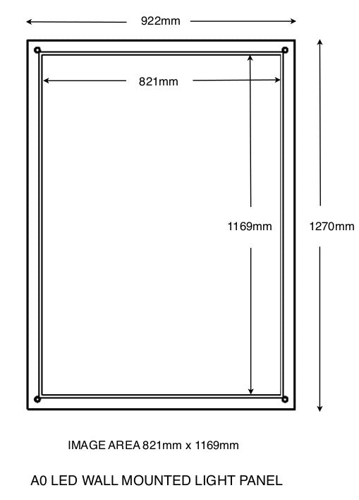 A0 Wall mounted light panel with overall size and total image size indicated.