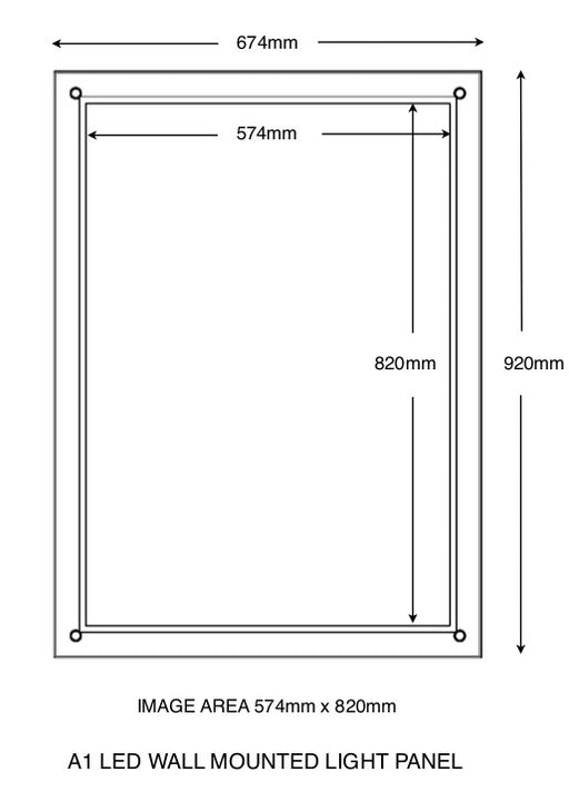 A1 Wall mounted light panel with overall size and total image size indicated.