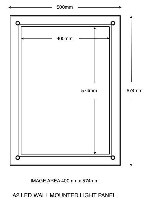 A2 Wall mounted light panel with overall size and total image size indicated.