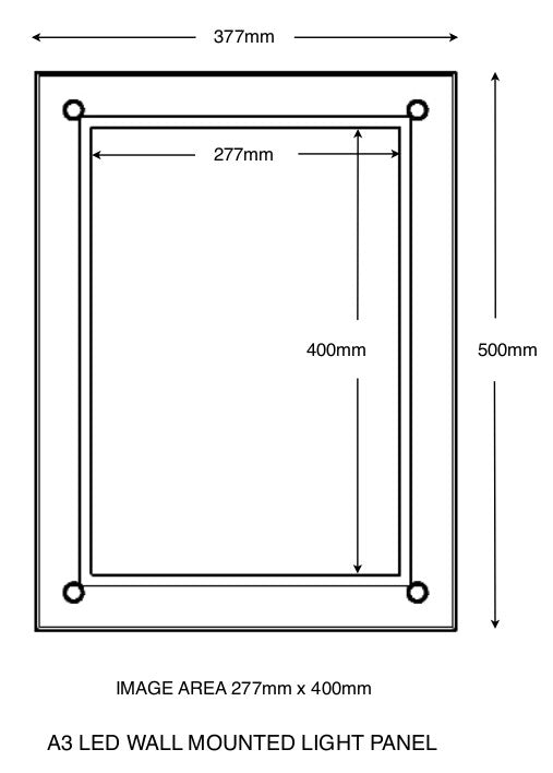 A3 Wall mounted light panel with overall size and total image size indicated.