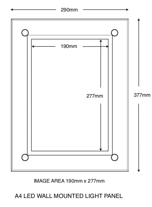 A4 Wall mounted light panel with overall size and total image size indicated.
