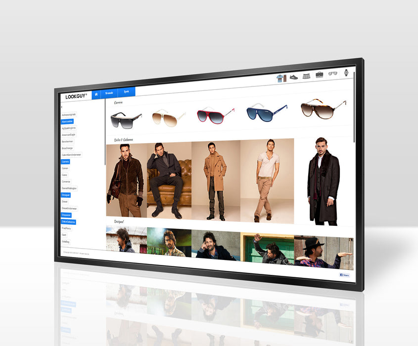 "The 55"" Wall mounted Multi Touch Screen Display in front three quarter perspective"