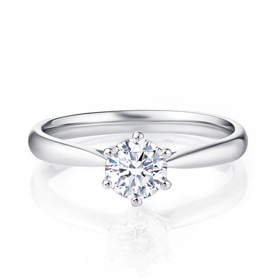 Wiley Hart Timeless Round White Sapphire Solitaire Engagement Ring Wedding Ring Gold or Silver
