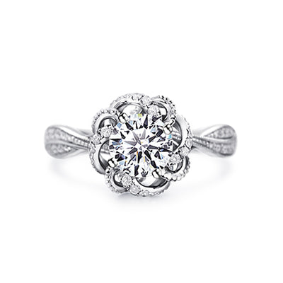 Wiley Hart Vintage Flower White Sapphire Engagement Ring Wedding Ring in White Gold or Silver