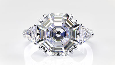 Wiley Hart Women's Asscher Cut Sapphire Vintage Ring Engagement Ring White Gold or Sterling Silver