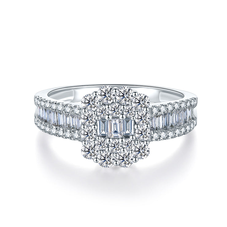Wiley Hart Sophisticated Emerald Cut White Sapphire Engagement Ring Wedding Ring in White Gold or Sterling Silver