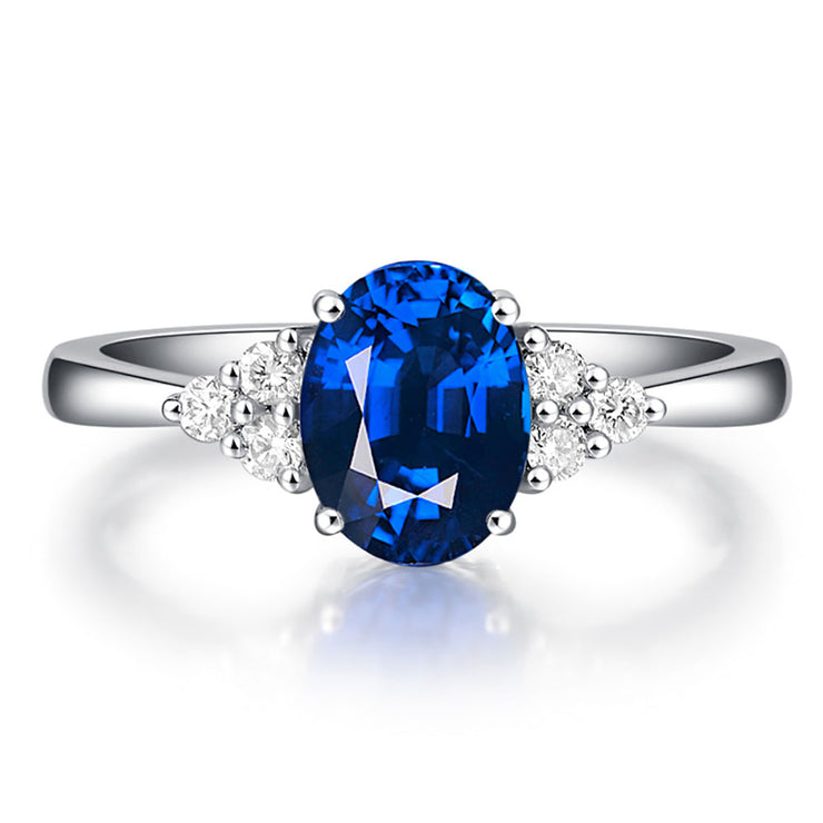 2 Carats Royal Blue Sapphire Ring Oval Cut Diamond Engagement Ring Gold or Silver Wiley Hart