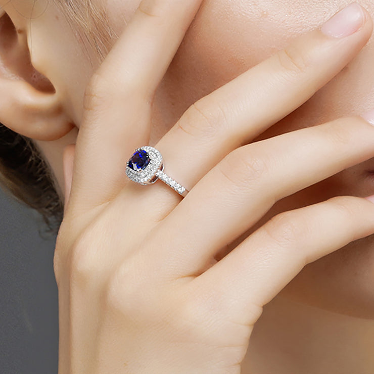 Blue Sapphire Ring Cushion Cut Double Halo Engagement Ring Wedding Ring Gold or Silver Wiley Hart