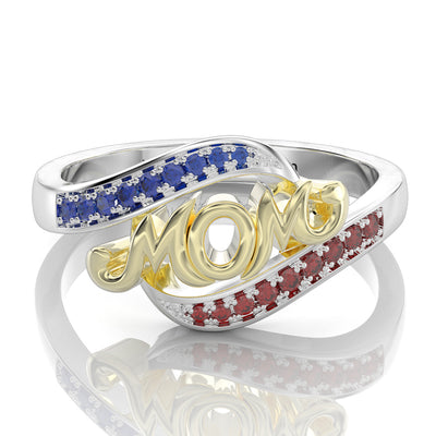 All About Mom Name Ring with Double Accent Mother's Day Gifts White Gold or Silver Wiley Hart