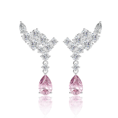 Angel Wing Pear Pink Sapphire Bridal Dangle Earrings Wedding Earrings White Gold or Silver Wiley Hart