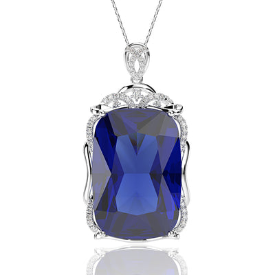 Blue Sapphire Big Carat  Cushion Cut Designer Engagement Pendant Necklace White Gold or Silver Wiley Hart