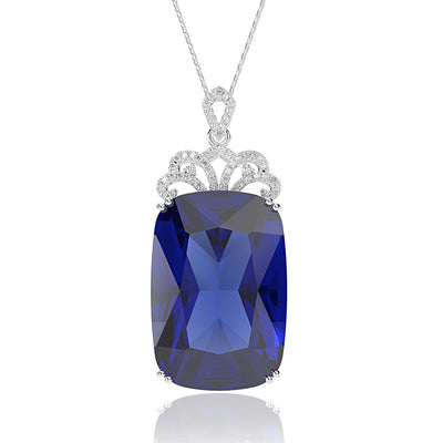 Blue Sapphire Cushion Cut Engagement Pendant Necklace White Gold or Silver Wiley Hart