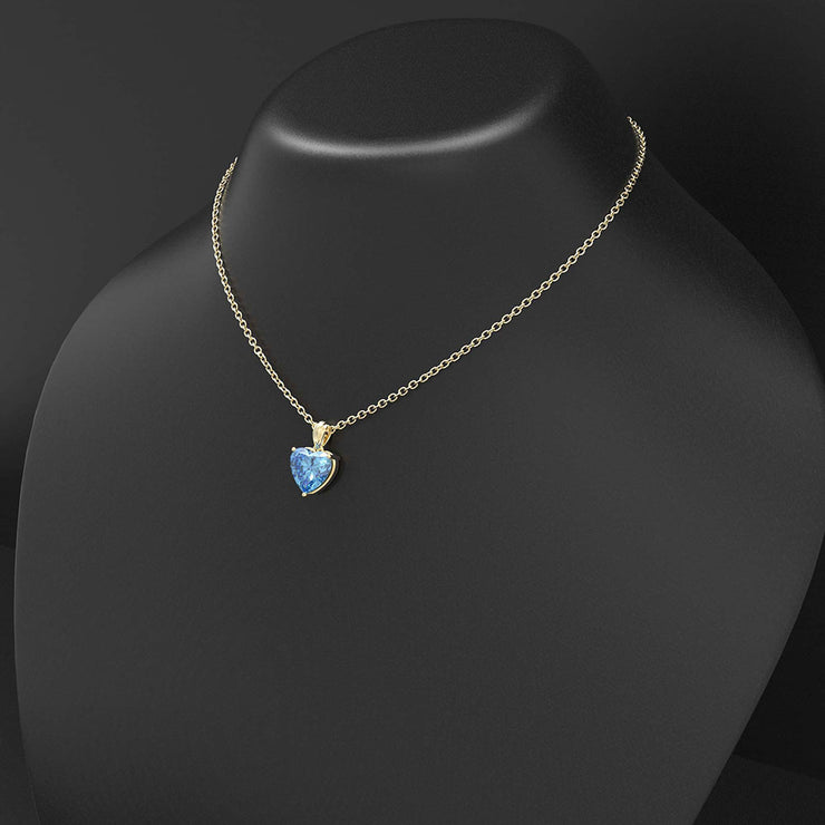 Wiley Hart 14K White Gold or Sterling Silver Women's Heart Cut Engagement Necklace with Blue Sapphire Stone