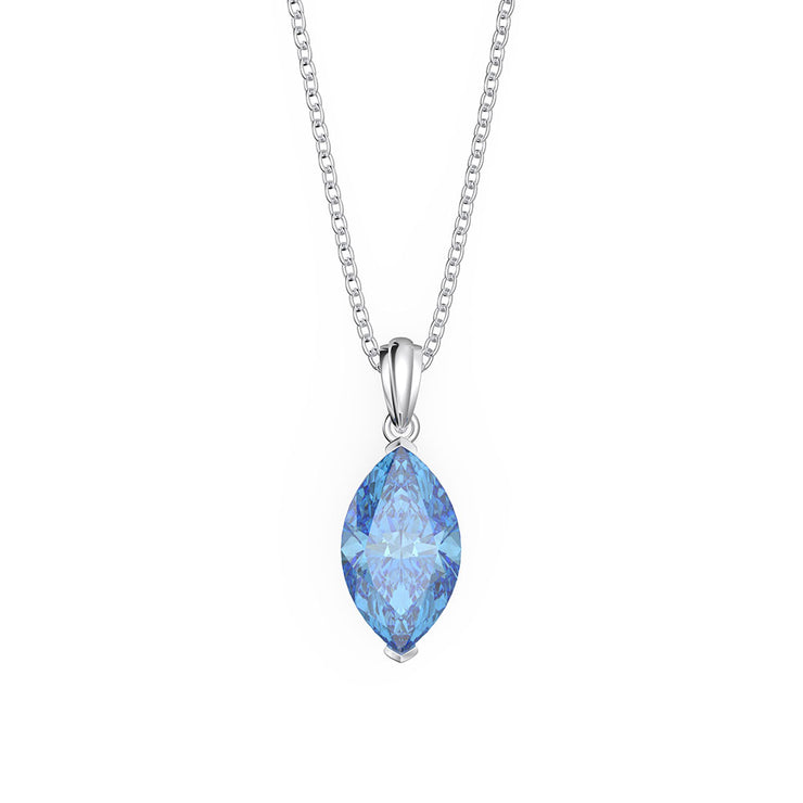 Wiley Hart 14K White Gold or Sterling Silver Women's Marquise Cut Engagement Necklace with Ocean Blue Sapphire Stone