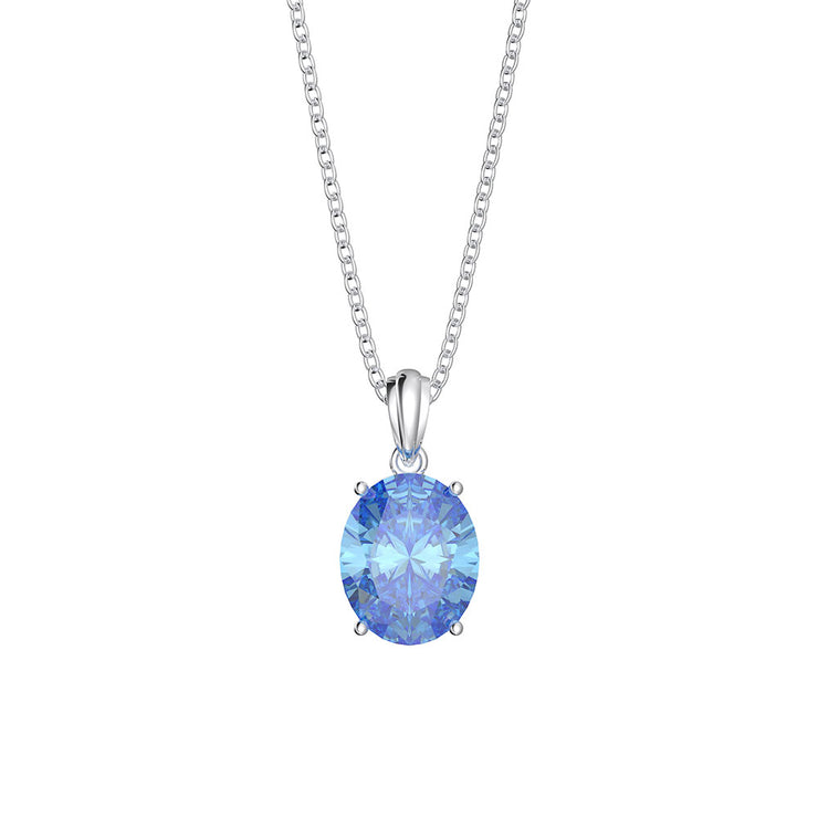 Wiley Hart 14K White Gold or Sterling Silver Women's Oval Cut Engagement Necklace with Ocean Blue Sapphire Stone