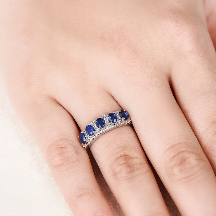 Office Lady Blue Sapphire Oval Cut Ring Band in White Gold or Silver Wiley Hart