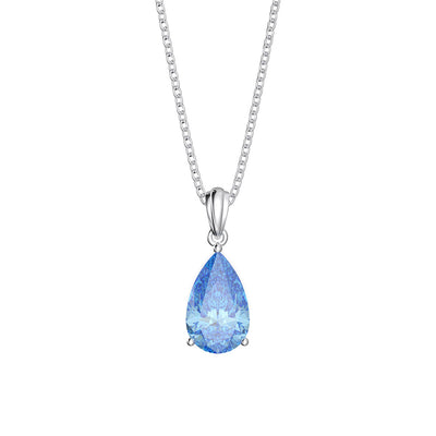 Wiley Hart 14K White Gold or Sterling Silver Women's Pear Cut Engagement Pendant Necklace with Ocean Blue Sapphire Stone