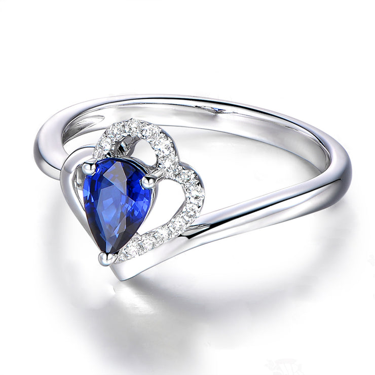 Wiley Hart Double Heart Blue Sapphire Pear Cut Wedding Engagement Ring White Gold or Silver