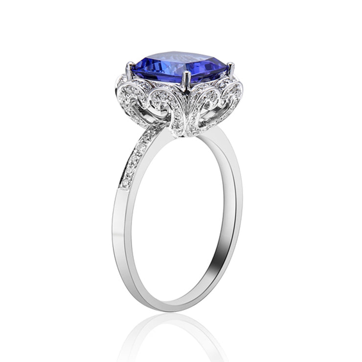 Wiley Hart Luxury Radiant Blue Sapphire Engagement Ring White Gold or Sterling Silver
