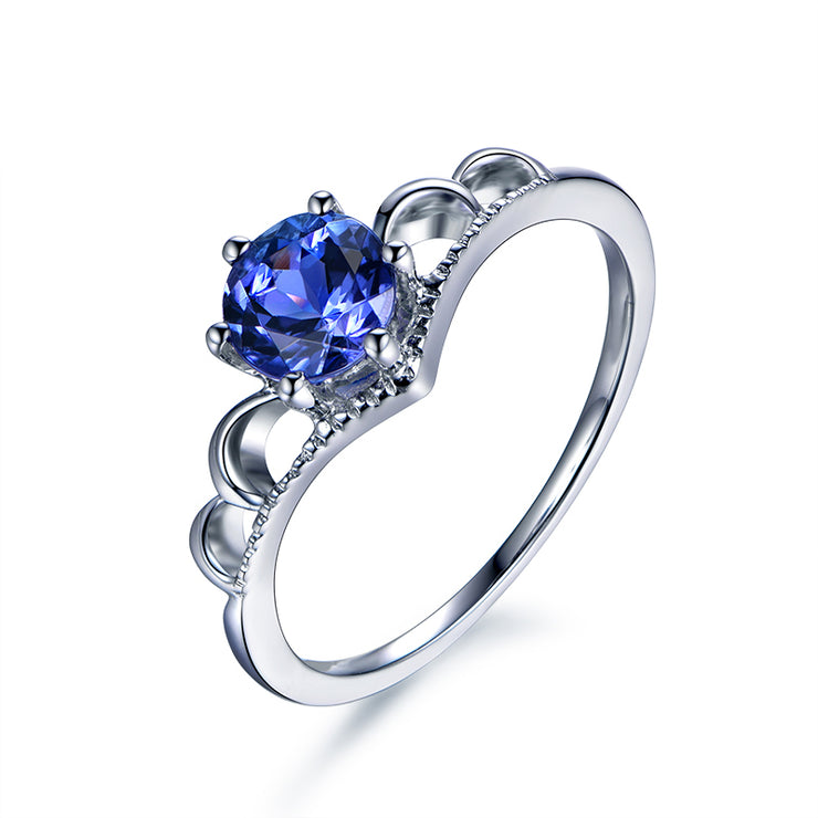 Wiley Hart Fancy 1.0 Ct Blue Sapphire Round Cut Engagement Ring White Gold or Silver