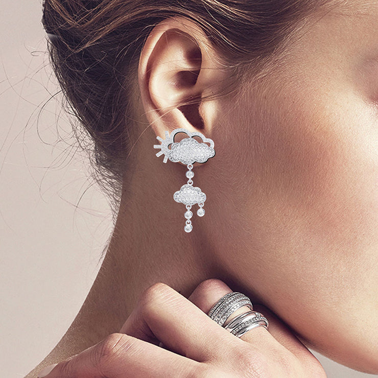 Creative White Clouds Tassel Bridal Drop Earrings Dangle Wedding Earrings White Gold or Silver Wiley Hart