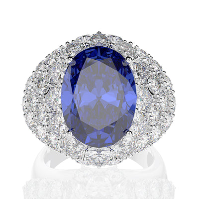 Dazzling Blue Sapphire Oval Cut Engagement Ring White Gold or Silver Wiley Hart