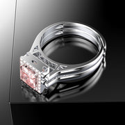 Double Layer Unisex Adjustable Ring Princess Cut White & Pink Sapphire Engagement Ring White Gold or Silver Wiley Hart