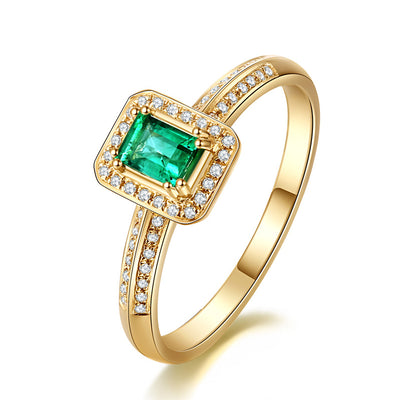 Wiley Hart Emerald Shape Elegant Green Sapphire Wedding Engagement Ring in Gold or Silver