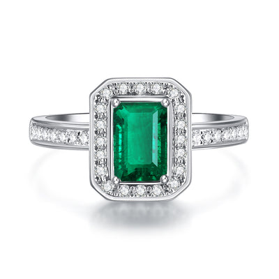 Wiley Hart Elegant Green Sapphire Emerald Cut Engagement Ring in Gold or Silver