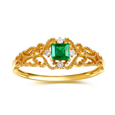 Wiley Hart Queen Green Sapphire Princess Cut Ring Anniversary Engagement Ring in Gold or Silver