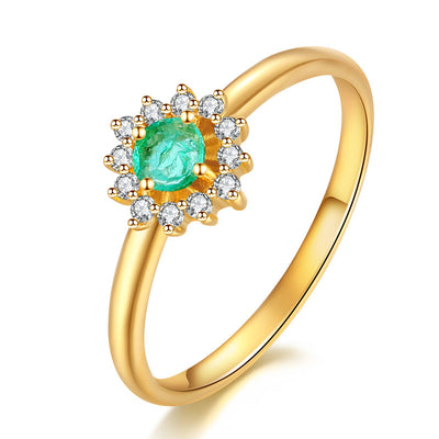 Wiley Hart Classic Round Green Sapphire Engagement Ring in Gold or Silver