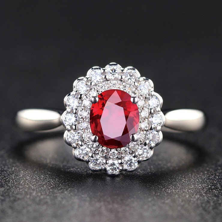 Wiley Hart Vintage Style Halo Red Sapphire Engagement Ring in White Gold or Silver