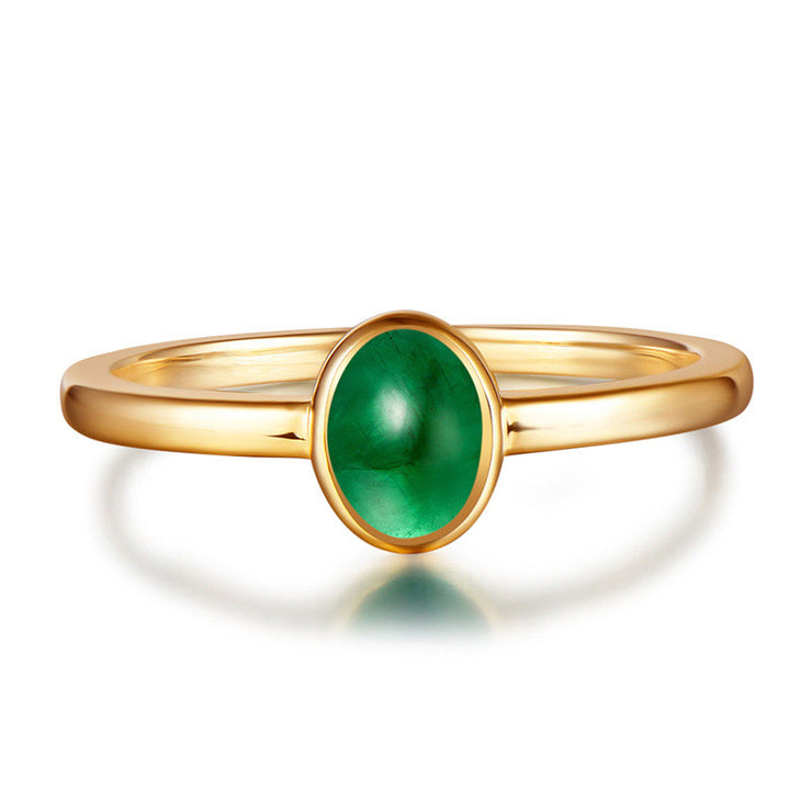 Wiley Hart Simple Elegance Green Sapphire Women's Ring in Yellow Gold or Silver