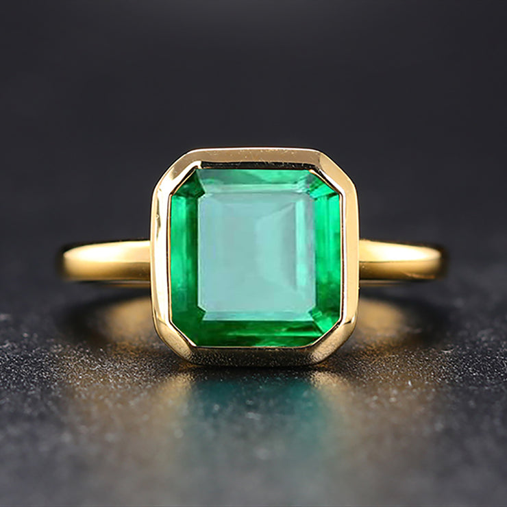 Wiley Hart Subtle Beauty Emerald Green Sapphire Engagement Ring in White Gold or Silver