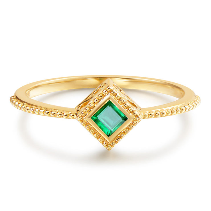 Wiley Hart Emerald Sapphire Ring Women's Stackable Ring in Gold or Silver