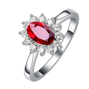 Wiley Hart Like A Sun Red Sapphire Women's Ring Cocktail Ring in White Gold or Silver