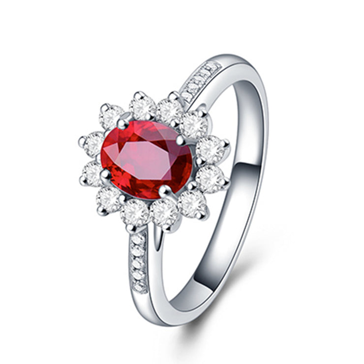 Wiley Hart Pretty Lady Red Sapphire Engagement Ring in 14K Gold or S925 Silver