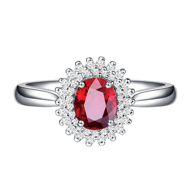 Wiley Hart Oval Cut Beautiful Halo Red Sapphire Engagement Ring in White Gold or Silver
