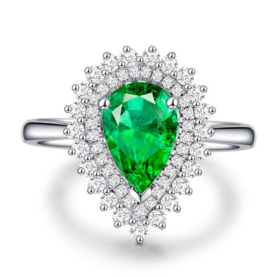 Wiley Hart Stylish Pear Shape Green Sapphire Engagement Ring Cocktail Ring in White Gold or Silver